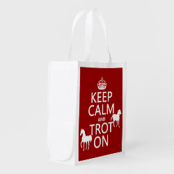 Reusable Grocery Bag with Keep Calm and Trot On design