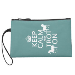 Sueded Mini Clutch with Keep Calm and Trot On design