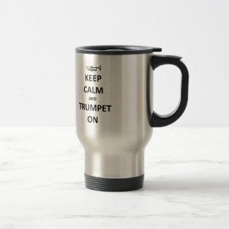 Keep calm and trumpet on travel mug