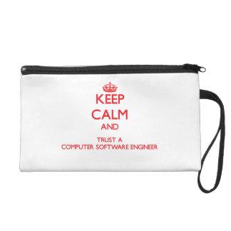 Keep Calm and Trust a Computer Software Engineer Wristlet Purse
