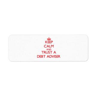Keep Calm and Trust a Debt Adviser Return Address Label