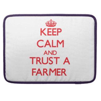 Keep Calm and Trust a Farmer MacBook Pro Sleeve