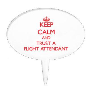 Keep Calm and Trust a Flight Attendant Cake Picks