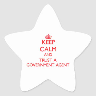 Keep Calm and Trust a Government Agent Star Sticker