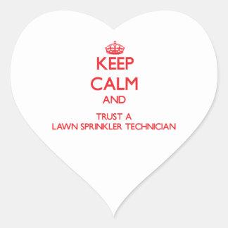 Keep Calm and Trust a Lawn Sprinkler Technician Heart Sticker