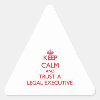 Keep Calm and Trust a Legal Executive Triangle Sticker