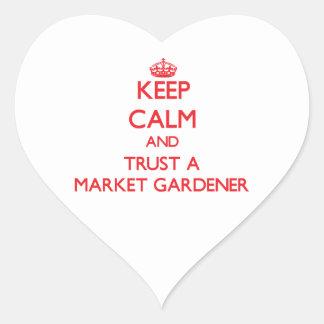 Keep Calm and Trust a Market Gardener Heart Stickers