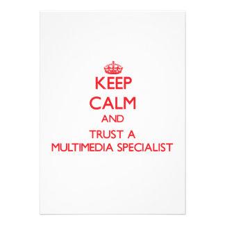 Keep Calm and Trust a Multimedia Specialist Custom Announcement