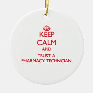 Keep Calm and Trust a Pharmacy Technician Double-Sided Ceramic Round Christmas Ornament