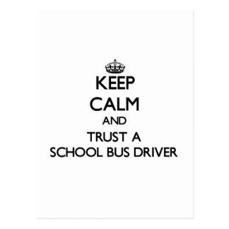 Keep Calm and Trust a School Bus Driver Postcard