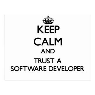 Keep Calm and Trust a Software Developer Postcard
