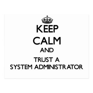 Keep Calm and Trust a System Administrator Postcard