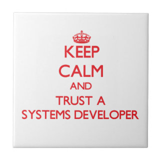 Keep Calm and Trust a Systems Developer Ceramic Tile