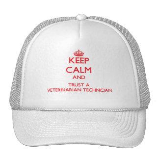 Keep Calm and Trust a Veterinarian Technician Mesh Hat
