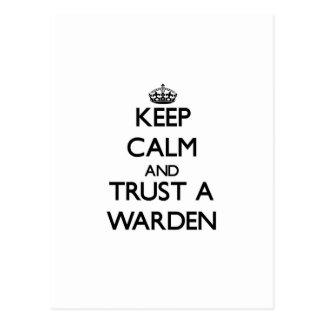 Keep Calm and Trust a Warden Postcard