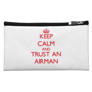 Keep Calm and Trust an Airman Cosmetics Bags