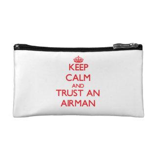 Keep Calm and Trust an Airman Makeup Bags
