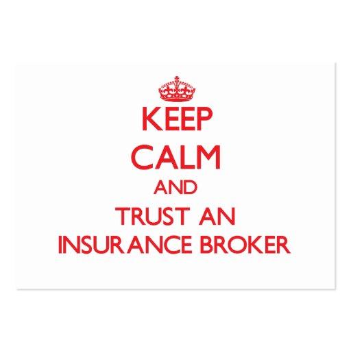 Keep Calm and Trust an Insurance Broker Business Card Templates