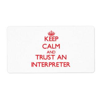 Keep Calm and Trust an Interpreter Shipping Label