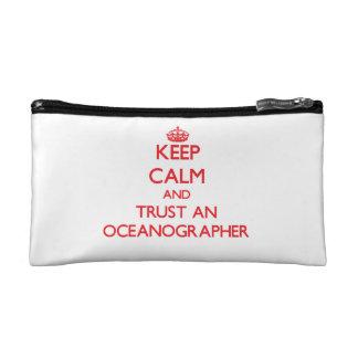 Keep Calm and Trust an Oceanographer Makeup Bags