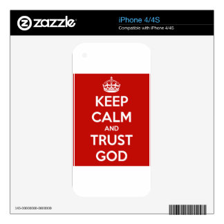 Keep Calm and Trust God Decals For iPhone 4S