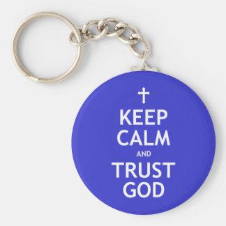 Keep Calm and Trust God Basic Round Button Keychain