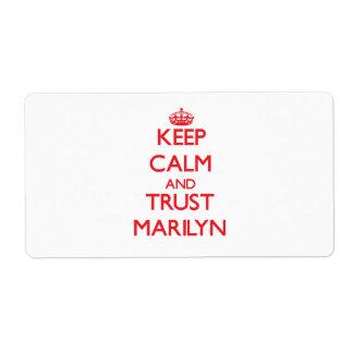 Keep Calm and TRUST Marilyn Custom Shipping Label