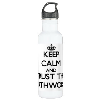 Keep calm and Trust the Earthworms 24oz Water Bottle