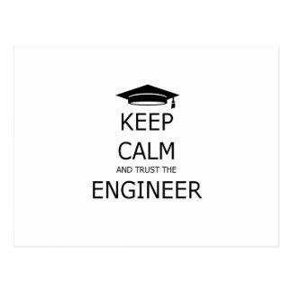 Keep calm and trust the engineer tarjeta postal