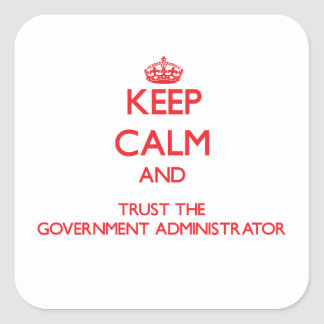 Keep Calm and Trust the Government Administrator Square Sticker