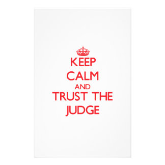 Keep Calm and Trust the Judge Custom Stationery