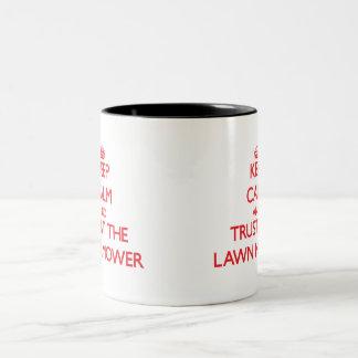 Keep Calm and Trust the Lawn Mower Two-Tone Mug