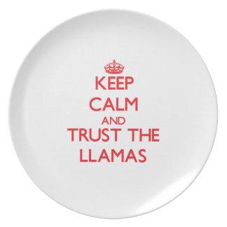 Keep calm and Trust the Llamas Dinner Plate