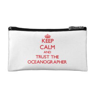 Keep Calm and Trust the Oceanographer Makeup Bags