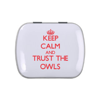 Keep calm and Trust the Owls Jelly Belly Candy Tin