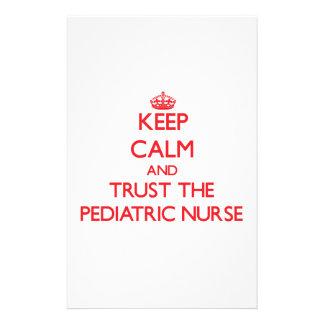 Keep Calm and Trust the Pediatric Nurse Custom Stationery