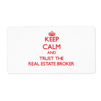 Keep Calm and Trust the Real Estate Broker Personalized Shipping Label