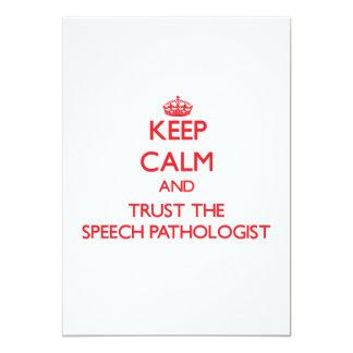Keep Calm and Trust the Speech Pathologist Custom Invitations