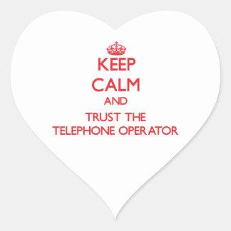 Keep Calm and Trust the Telephone Operator Heart Sticker