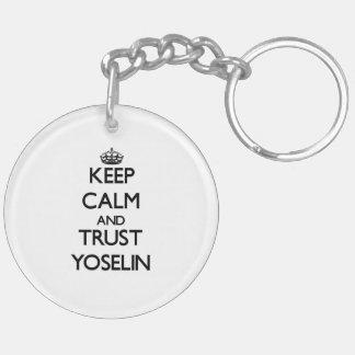 Keep Calm and trust Yoselin Double-Sided Round Acrylic Keychain