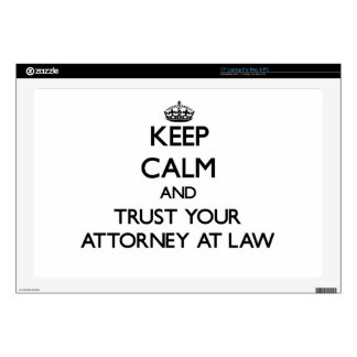 """Keep Calm and Trust Your Attorney At Law 17"""" Laptop Decal"""