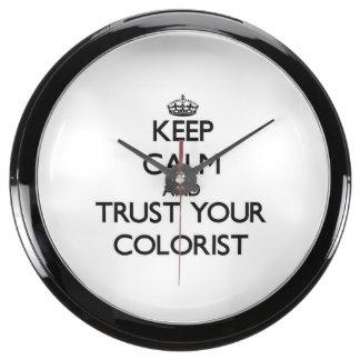 Keep Calm and Trust Your Colorist Aquarium Clock