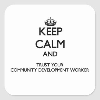 Keep Calm and Trust Your Community Development Wor Square Sticker