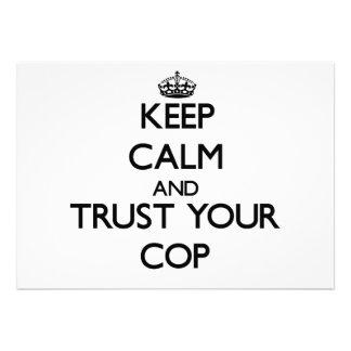 Keep Calm and Trust Your Cop Custom Invites