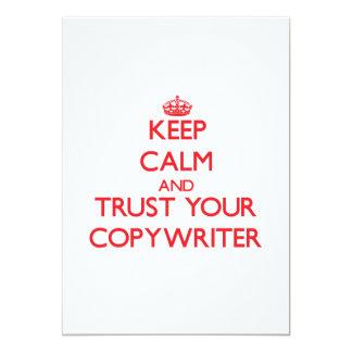 "Keep Calm and trust your Copywriter 5"" X 7"" Invitation Card"
