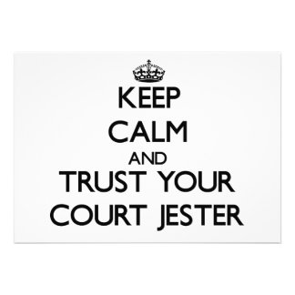 Keep Calm and Trust Your Court Jester Custom Invitation