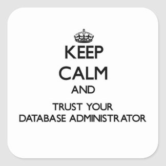 Keep Calm and Trust Your Database Administrator Square Sticker