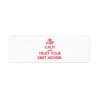 Keep Calm and trust your Debt Adviser Return Address Label
