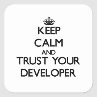 Keep Calm and Trust Your Developer Square Stickers