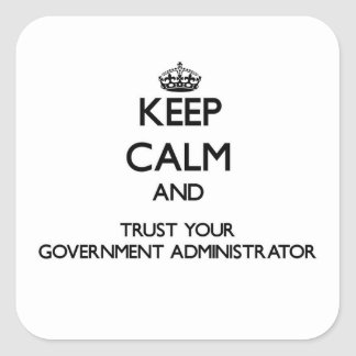 Keep Calm and Trust Your Government Administrator Square Sticker